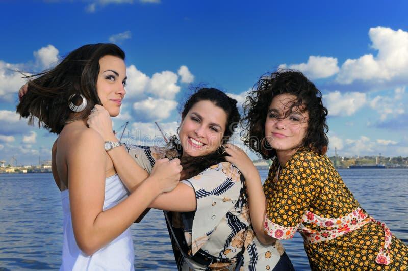 Aufstellung mit drei Mädchen stockbilder