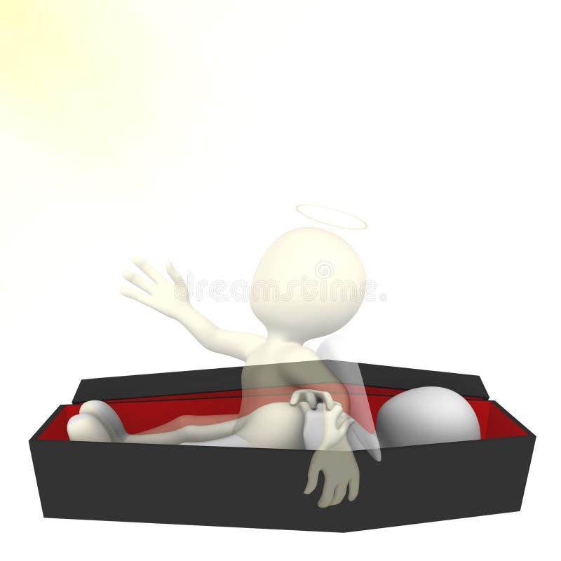 Aufstieg zum Himmel Wiederbelebung des Mannes 3d Unsterblichkeit der Seele stock abbildung