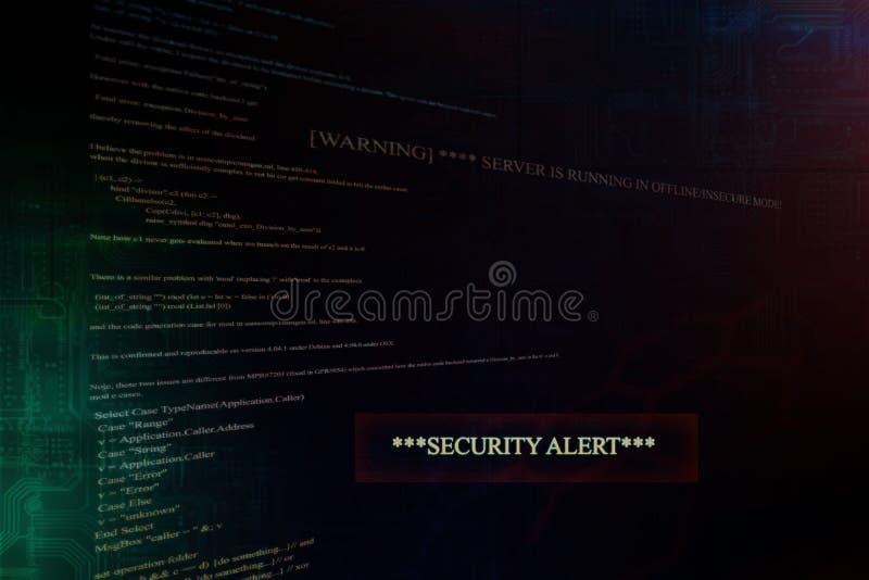 Auftauchende Sicherheitswarnung auf Computer stock abbildung