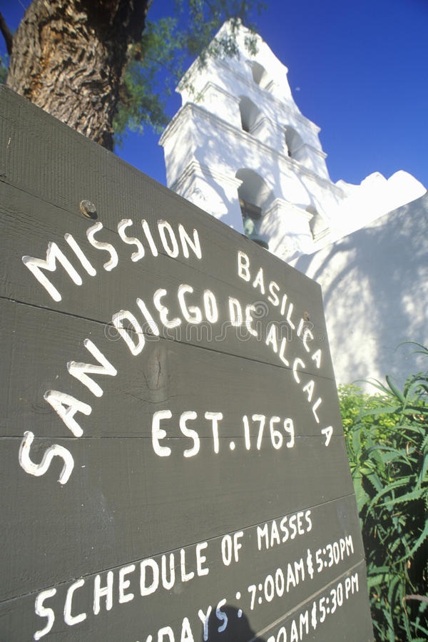 Auftrag-Basilika San Diego De Alcala, San Diego, Kalifornien stockbild