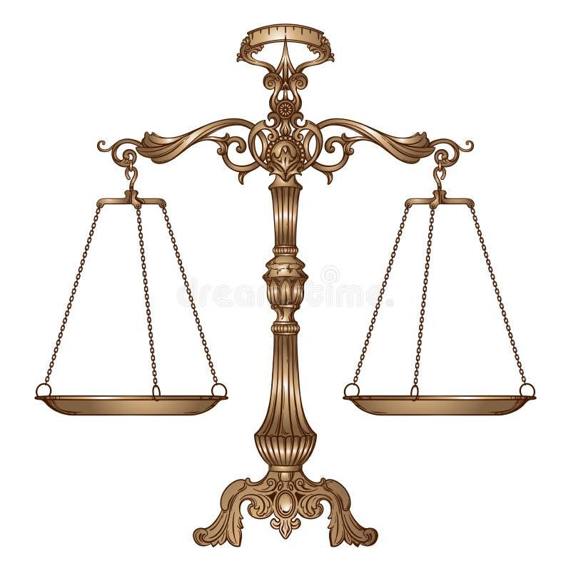 Aufwändige Balancenskalen der Vektorillustrationsantike auf weißem Hintergrund Gerechtigkeit und Herstellung des Entscheidungskon vektor abbildung
