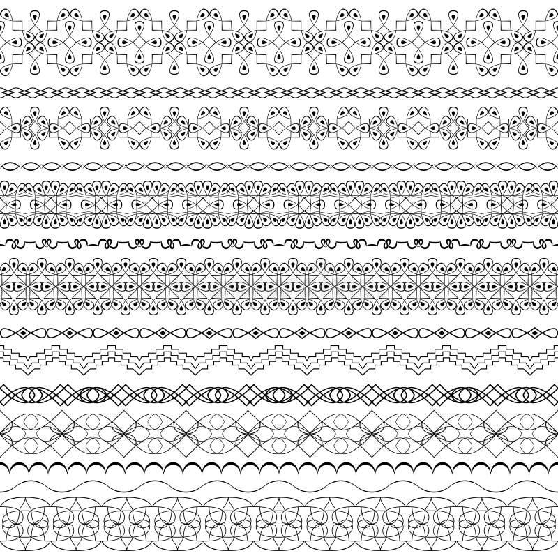 Aufwändige nahtlose Grenzen des Vektors in der Ostart Linie Kunstweinlese vektor abbildung