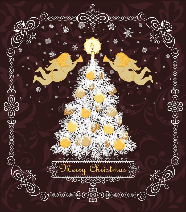 Aufwändige Retro- Grußkarte für Winterurlaube mit herausgeschnittenem Papierweihnachtsbaum mit dem Kegel, Kerze, Goldkugeln und P stock abbildung