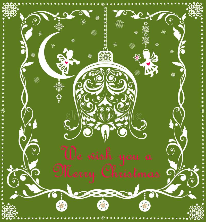 Aufwändige Weinlese Weihnachtsgrußgreen card mit Blumenpapier herausgeschnittener Grenz- und Handwerksweihnachtshängender Glocke  lizenzfreie abbildung