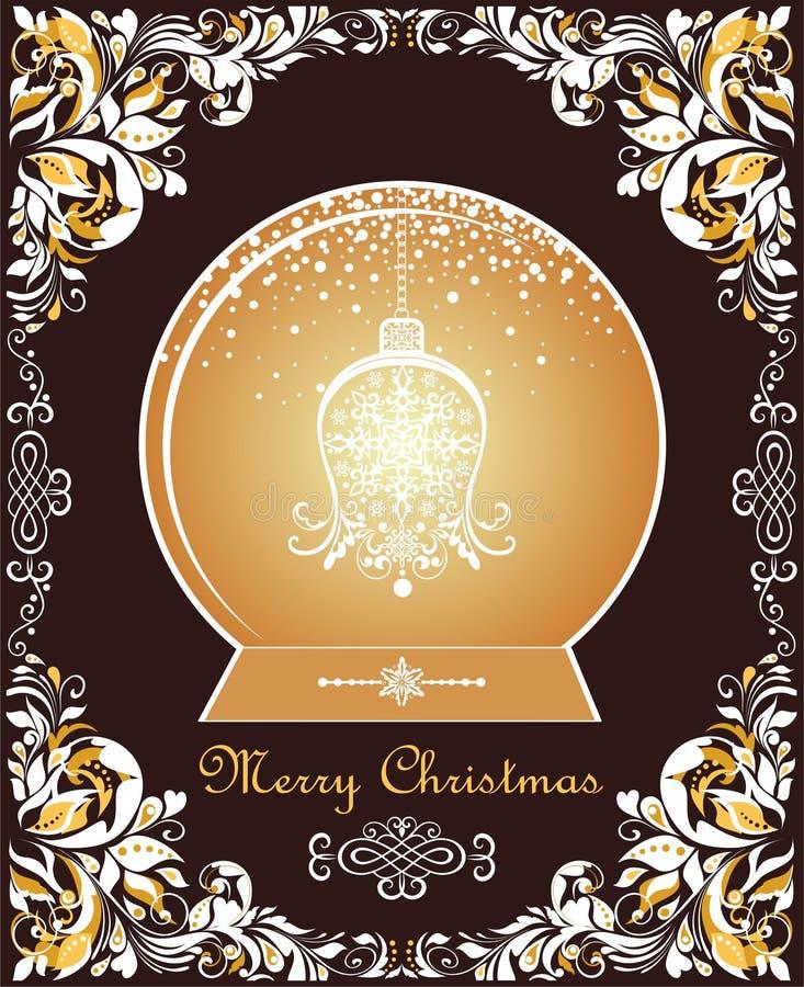 Aufwändige Weinlese Weihnachtsgrußkarte mit Blumenpapier schnitt Grenz- und Goldweihnachtskugel mit hängender Glocke des Handwerk stock abbildung