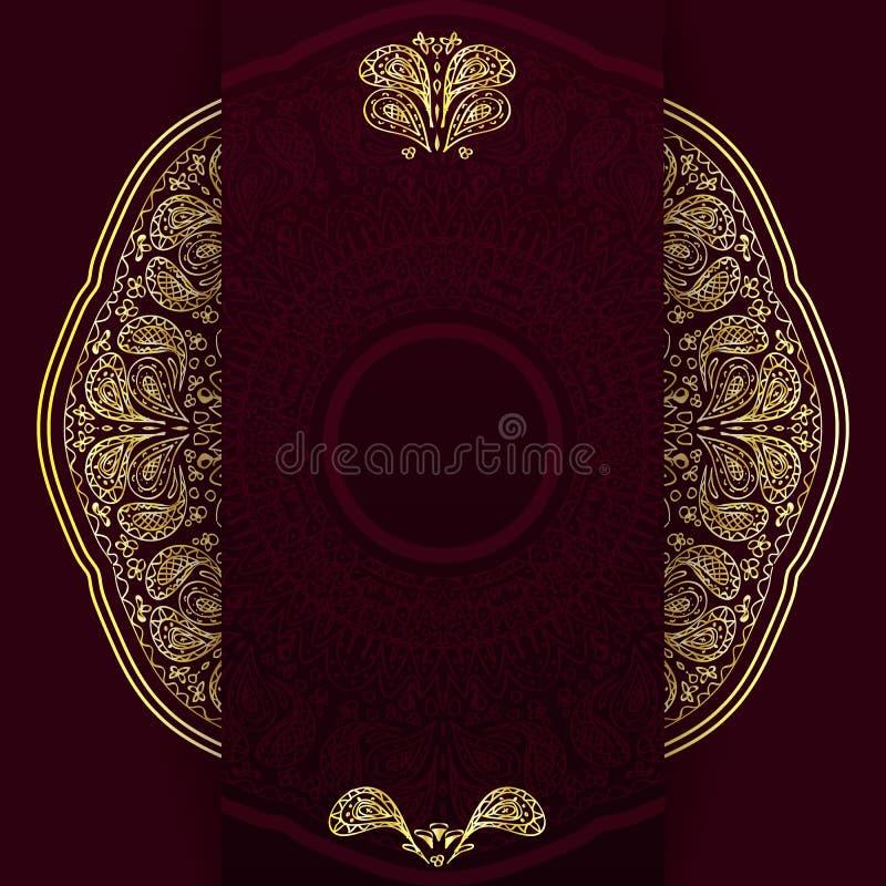 Aufwändiger Burgunder-Hintergrund mit goldener Mandala Schablone für Menü, Grußkarte, Einladung oder Abdeckung Auch im corel abge vektor abbildung