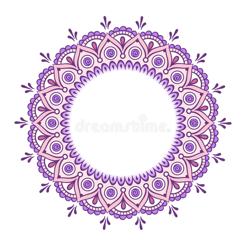 Aufwändiger Mandalavektor der dekorativen indischen runden Spitzes vektor abbildung