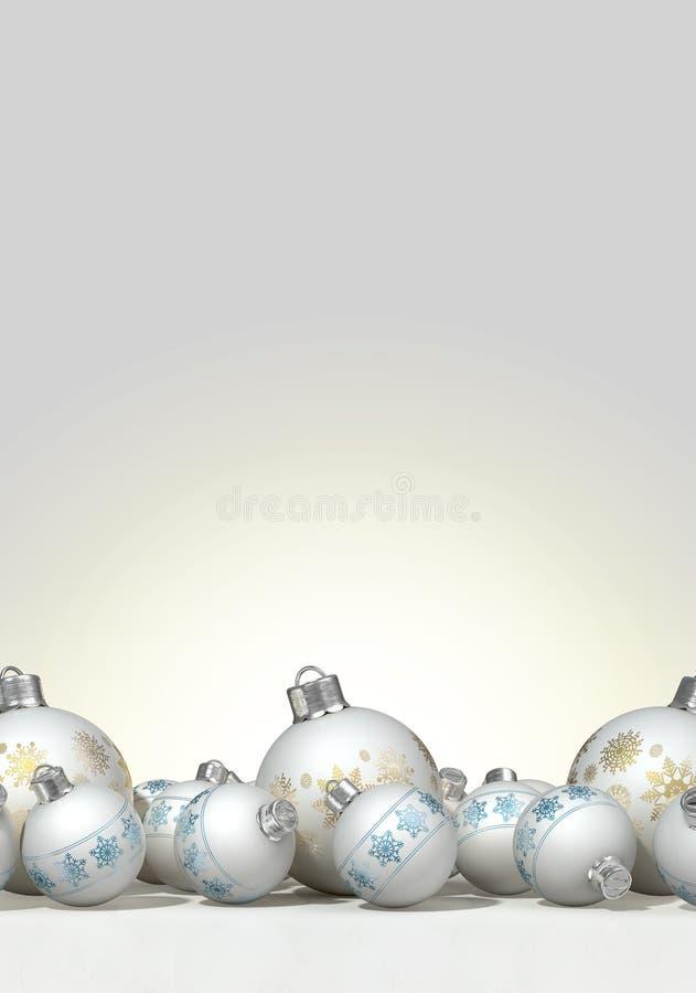 Aufwändiger Matte White Christmas Baubles lizenzfreie abbildung