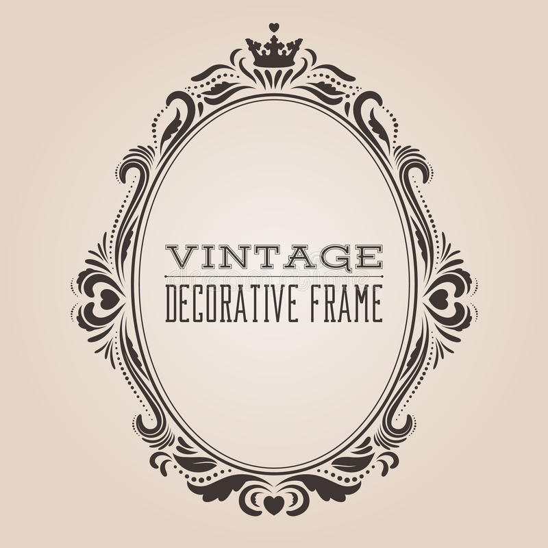 Aufwändiger Rahmen der ovalen Weinlese Grenz, Victorian und dekoratives Design der königlichen barocken Art stock abbildung