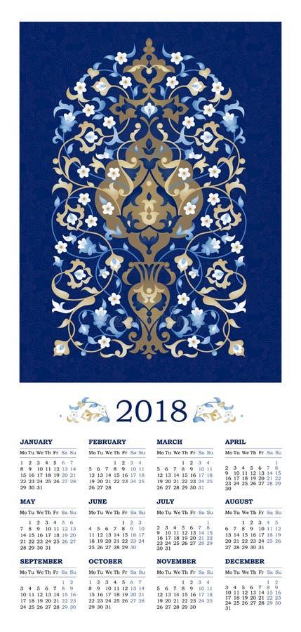 Aufwändiger verzierter Kalender für 2018 stockfoto