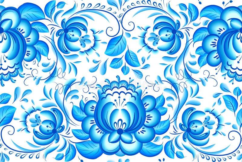 Aufwändiges blaues und weißes Blumenvektormuster lizenzfreie abbildung