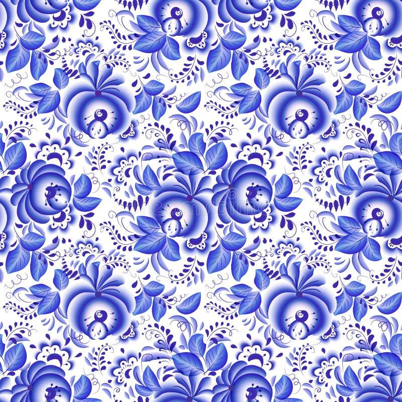 Aufwändiges blaues und weißes nahtloses mit Blumenmuster lizenzfreie abbildung