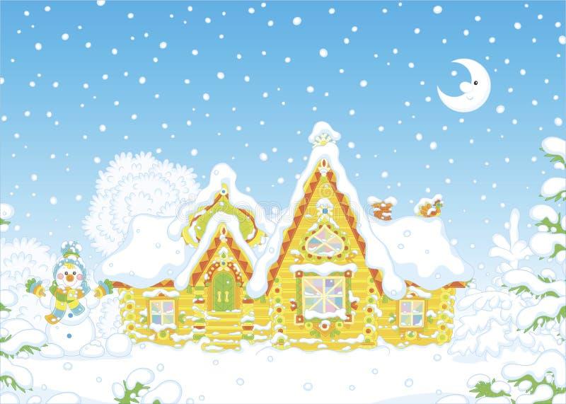 Aufwändiges Blockhaus unter Schnee lizenzfreie abbildung