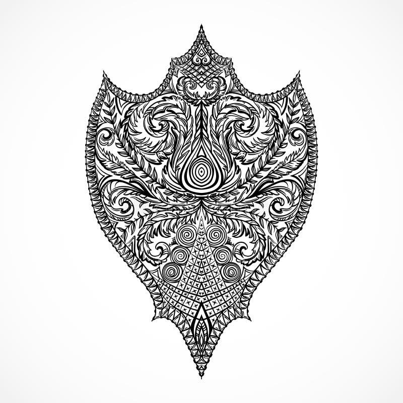 aufw ndiges mittelalterliches schild gezeichnete illustration der weinlese blumenin hohem grade. Black Bedroom Furniture Sets. Home Design Ideas