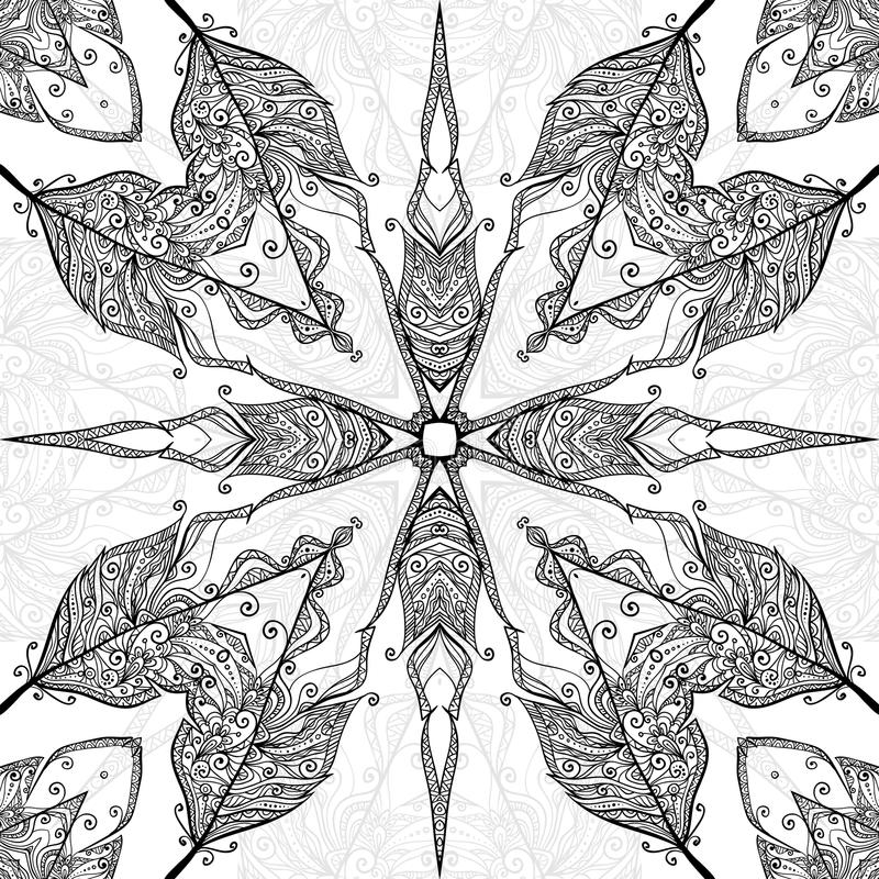 Aufwändiges nahtloses Schwarzweiss-Muster des Gekritzels stock abbildung