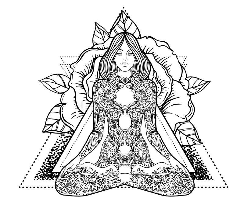 Aufwändiges Schattenbild der Frau, das in der Lotoshaltung sitzt Meditation, Aura lizenzfreie abbildung