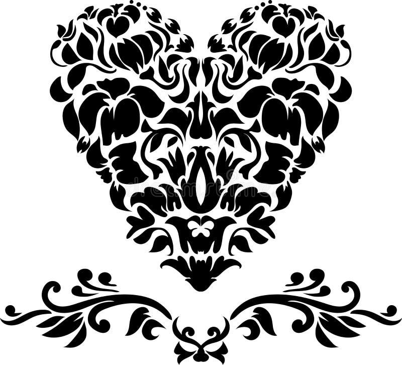 Aufwändiges Schattenbild des Herzens Liebesentwurf für Laser-Schnitt Illustration ENV 8 stock abbildung