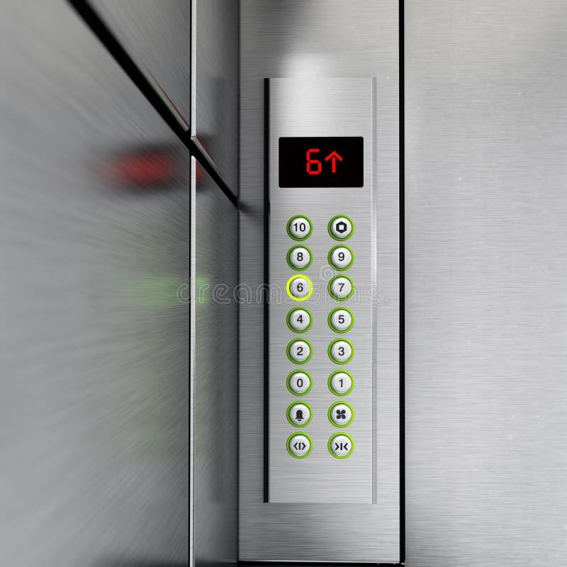 Aufzugsplatte mit Knöpfen und LCD-Anzeige Abbildung 3D vektor abbildung