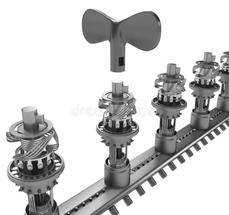 Aufzugsschlüssel-Mechanismus-Linie vektor abbildung