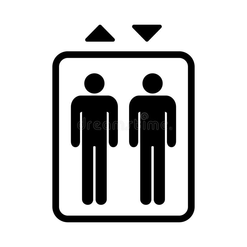 Aufzugszeichen Schwarzes lokalisiertes Symbol für Aufzug Einfache Auslegung vektor abbildung