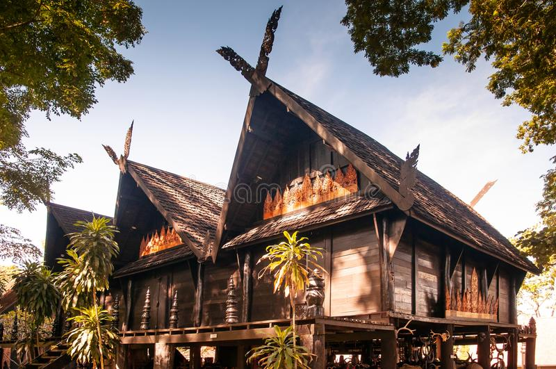Northern Thai architecture of historic Baan Dum Museum, Chiang R stock image