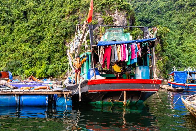 Aug 2016 - Halong Bay, Vietnam – Fishermen boats in Halong Bay royalty free stock photos