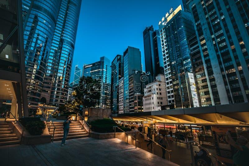 Hong Kong Central Street Scene at night. Aug 18, 2017 - Hong Kong Central Street Scene at night royalty free stock image