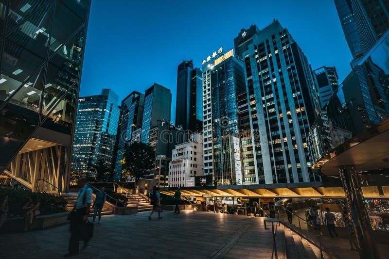 Hong Kong Central Street Scene at night. Aug 18, 2017 - Hong Kong Central Street Scene at night stock images