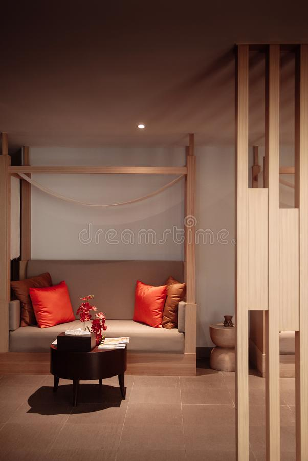 Colourful modern furniture, Sofa couch and coffee table. AUG 6, 2014 Hua Hin, THAILAND - Colourful modern furniture, wooded, sofa couch in Asian style hotel room stock images