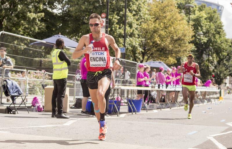 6 Aug `17 - London World Athletics Championships marathon: Leslie Enchina. London World Athletics Championships marathon: Chilean athlete Leslie Enchina royalty free stock photos