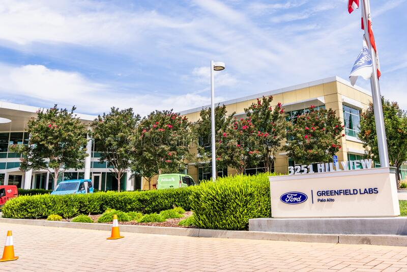 Aug 5, 2019 Palo Alto/ CA / USA - Ford Greenfield Labs headquarters in Silicon Valley; Ford Greenfield Labs houses the Smart. Vehicles research division of Ford royalty free stock photo