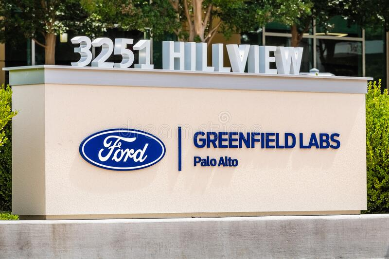 Aug 5, 2019 Palo Alto/ CA / USA - Ford Greenfield Labs sign at their headquarters in Silicon Valley; Ford Greenfield Labs houses. The Smart Vehicles research royalty free stock photography
