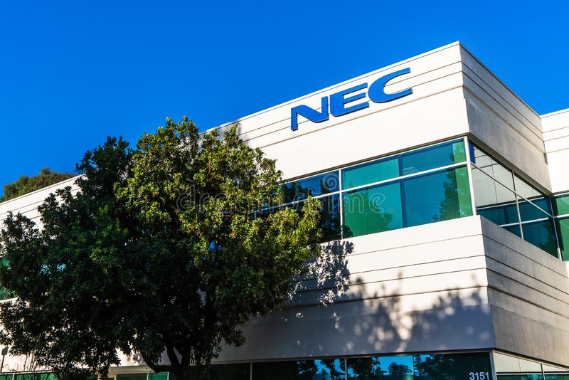 Aug 17, 2019 Santa Clara / CA / USA - NEC headquarters in Silicon Valley; NEC Corporation is a Japanese multinational information. Technology and electronics royalty free stock photography
