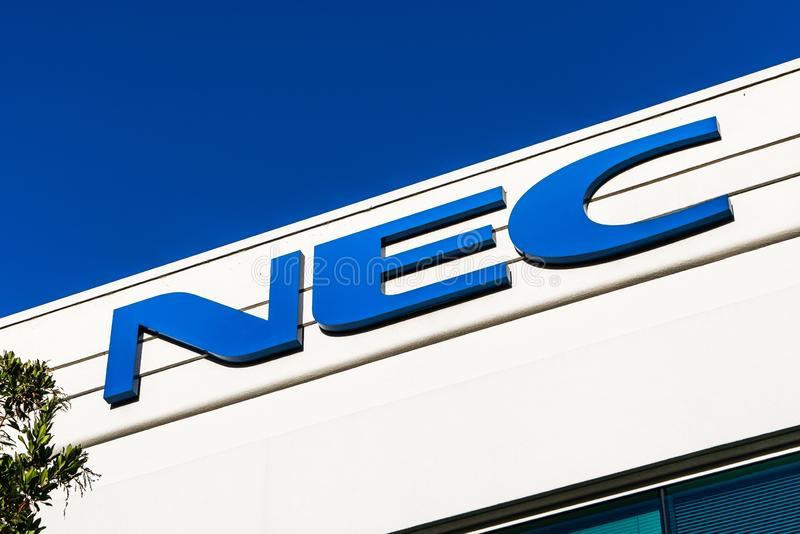 Aug 17, 2019 Santa Clara / CA / USA - NEC logo at their headquarters in Silicon Valley; NEC Corporation is a Japanese. Multinational information technology and royalty free stock image
