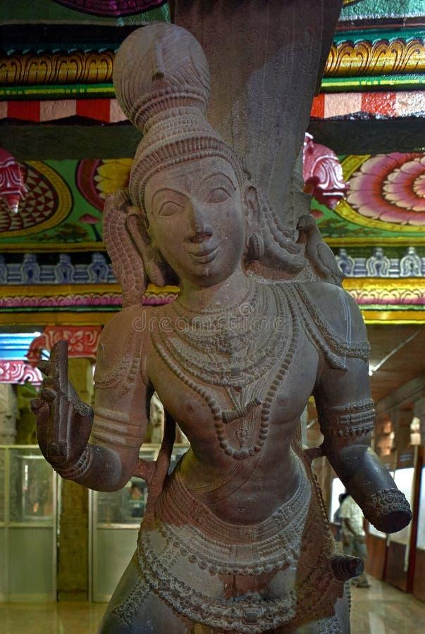 Statue of woman Hall of 1,000 Pillars, Meenakshi Temple, Madurai, Tamil Nadu stock image