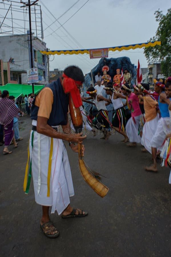 Tribal divotis dancing on occasion of baps swaminarayan mandir nagar yatra Dhule Maharashtra. 07-Aug-2010-Tribal divotis dancing on occasion of baps swaminarayan royalty free stock image