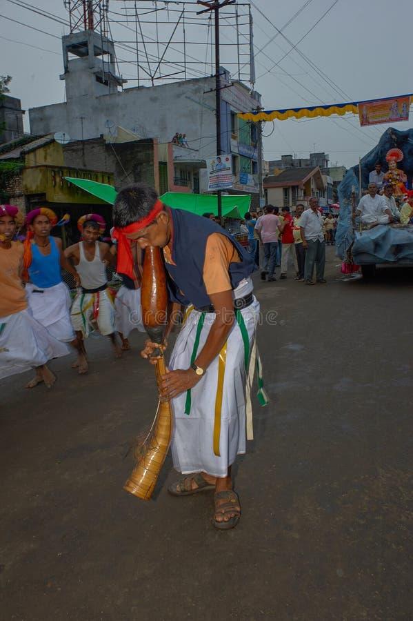 Tribal divotis dancing on occasion of baps swaminarayan mandir nagar yatra Dhule Maharashtra. 07-Aug-2010-Tribal divotis dancing on occasion of baps swaminarayan royalty free stock images
