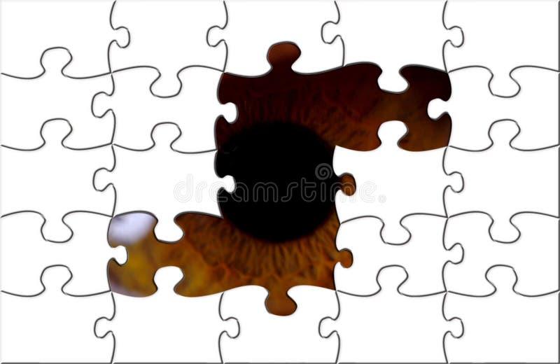 Auge, das durch Puzzlespiel schaut lizenzfreie abbildung