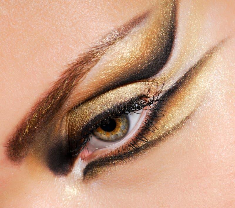 Auge der Nahaufnahmefrau stockbilder