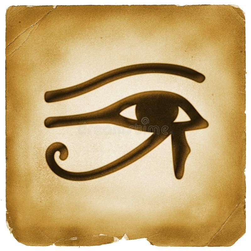 Auge des alten Papiers des Horus Symbols vektor abbildung