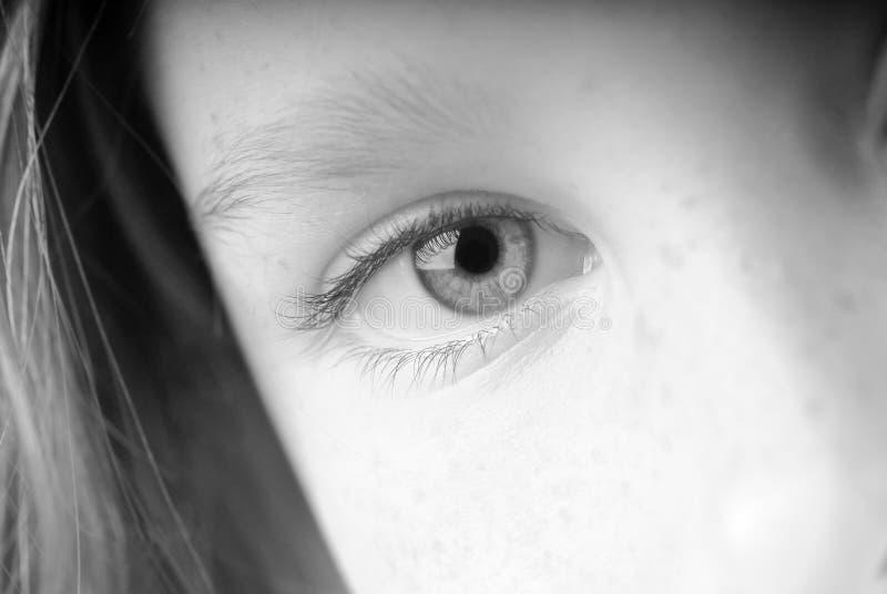 Auge des jungen Mädchens stockbilder