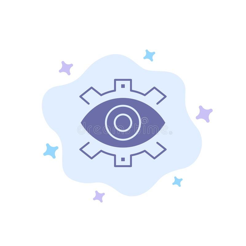 Auge, kreativ, Produktion, Geschäft, kreativ, modern, Produktions-blaue Ikone auf abstraktem Wolken-Hintergrund vektor abbildung