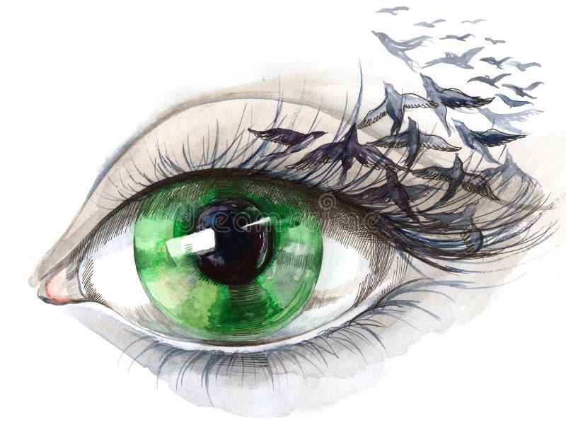 Auge mit Vögeln lizenzfreie abbildung