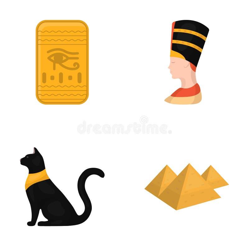 Auge von Horus, schwarze ägyptische Katze, Pyramiden, Kopf von Nefertiti Alte gesetzte Sammlungsikonen Ägyptens im Karikaturartve vektor abbildung
