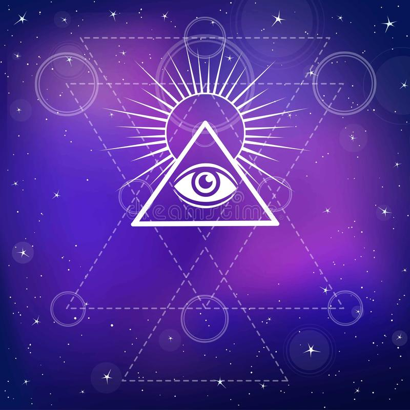 Auge von Providence Alles sehende Auge innerhalb der Dreieckpyramide stock abbildung