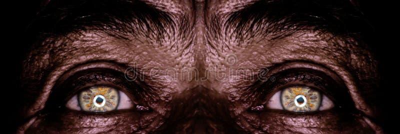 Augen des alten Mannes in der Dunkelheit stockfotos