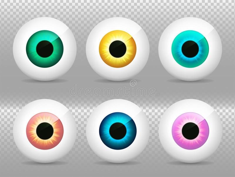 Augen eingestellt Realistisches 3d schaut Vektorillustration an Wirkliche menschliche Iris, Schüler und Auge Blaue, grüne, gelbe, stock abbildung