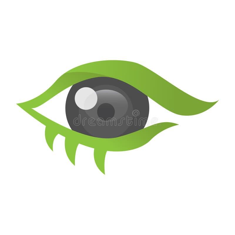 Augen-Logovektorschablone, Kreis Visions-Firmenzeichenkonzept-, -optik- und -augenlinsenlogovektor lizenzfreie abbildung