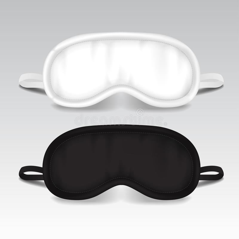 Augen-Schlaf-Maske Vektorspott herauf Illustration Zusätzlicher Gegenstand des Schwarzweiss-Schlafes Augenschutz für Restnacht stock abbildung