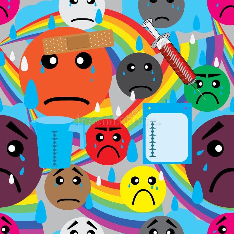 Augen-Tropfen-Schmerz-trauriges Gefühl-nahtloses Muster lizenzfreie abbildung